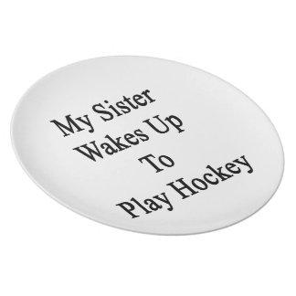 Mi hermana despierta para jugar a hockey platos para fiestas