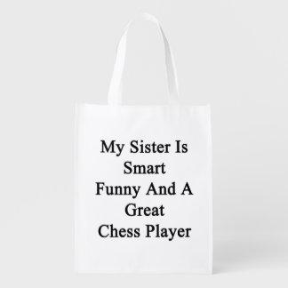 Mi hermana es divertida elegante y un gran jugador bolsas para la compra