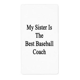 Mi hermana es el mejor entrenador de béisbol etiquetas de envío