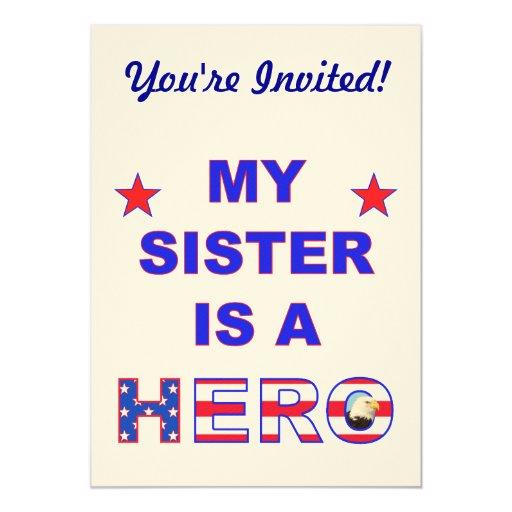 """Mi hermana es un héroe invitación 5"""" x 7"""""""