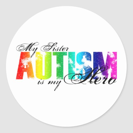 Mi hermana mi héroe - autismo pegatinas redondas