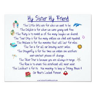 """MI HERMANA mi poema del amigo con los gráficos Invitación 4.25"""" X 5.5"""""""