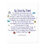 MI HERMANA mi poema del amigo con los gráficos Postal