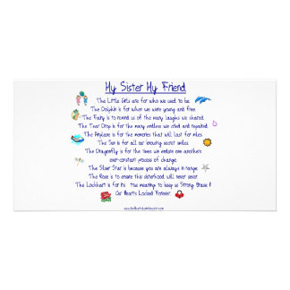 MI HERMANA mi poema del amigo con los gráficos Tarjetas Fotográficas Personalizadas