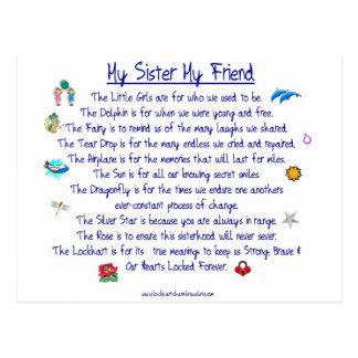 MI HERMANA mi poema del amigo con los gráficos Tarjetas Postales