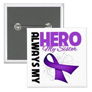 Mi hermana siempre mi héroe - cinta púrpura pin cuadrada 5 cm
