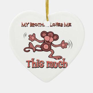 Mi hermano me ama este mucho adorno navideño de cerámica en forma de corazón