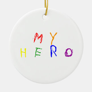 Mi héroe adorno navideño redondo de cerámica