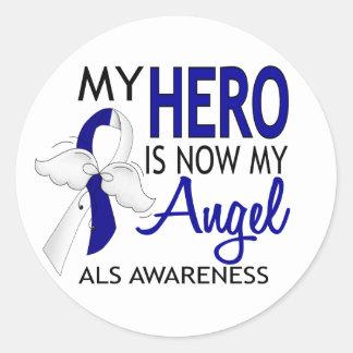 Mi héroe es mi ALS del ángel Pegatina Redonda