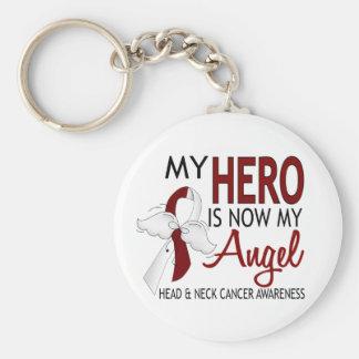 Mi héroe es mi cáncer de cabeza y cuello del ángel llavero personalizado