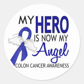 Mi héroe es mi cáncer de colon del ángel etiqueta redonda