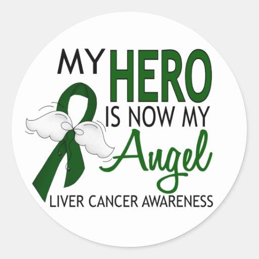Mi héroe es mi cáncer de hígado del ángel pegatina redonda