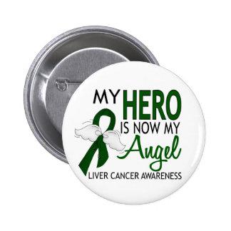Mi héroe es mi cáncer de hígado del ángel pin redondo de 2 pulgadas