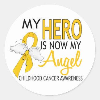 Mi héroe es mi cáncer de la niñez del ángel pegatinas redondas