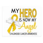 Mi héroe es mi cáncer de la niñez del ángel tarjeta postal