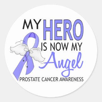 Mi héroe es mi cáncer de próstata del ángel pegatina redonda