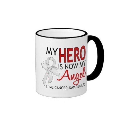 Mi héroe es mi cáncer de pulmón del ángel taza a dos colores