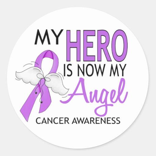 Mi héroe es mi cáncer del ángel pegatinas redondas