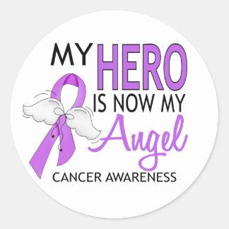 Mi héroe es mi cáncer del ángel pegatina redonda