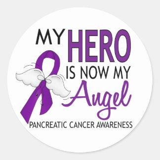 Mi héroe es mi cáncer pancreático del ángel pegatina redonda