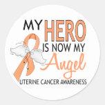 Mi héroe es mi cáncer uterino del ángel pegatinas redondas