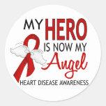 Mi héroe es mi enfermedad cardíaca del ángel pegatinas redondas
