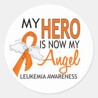 Mi héroe es mi leucemia del ángel pegatina redonda