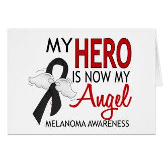 Mi héroe es mi melanoma del ángel tarjeta de felicitación