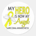 Mi héroe es mi sarcoma del ángel pegatinas redondas