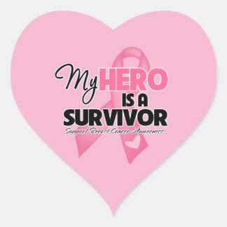 Mi héroe es un superviviente - cáncer de pecho pegatina en forma de corazón