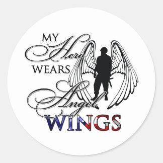 Mi héroe lleva las alas del ángel pegatina redonda