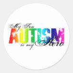 Mi héroe mi hijo - autismo pegatinas redondas