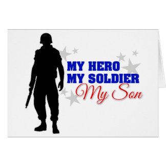 Mi héroe, mi soldado, mi hijo tarjeta de felicitación