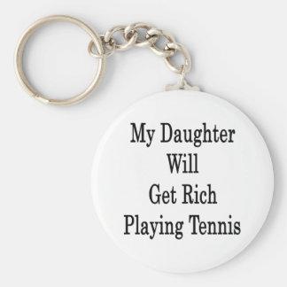 Mi hija conseguirá rica jugando a tenis llavero redondo tipo pin