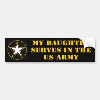 Mi hija desempeña servicios en el ejército pegatina para auto