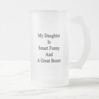 Mi hija es divertida elegante y gran boxeador taza cristal mate