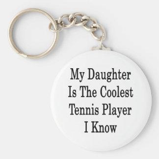 Mi hija es el jugador de tenis más fresco que cono llavero redondo tipo pin