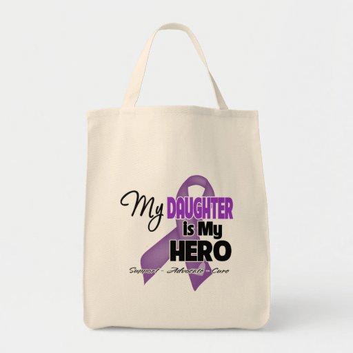 Mi hija es mi héroe - cinta púrpura bolsas de mano