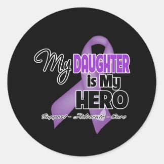 Mi hija es mi héroe - cinta púrpura pegatina redonda
