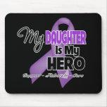 Mi hija es mi héroe - cinta púrpura tapete de ratón