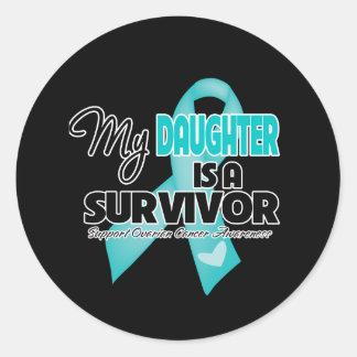 Mi hija es un superviviente - cáncer ovárico pegatinas redondas