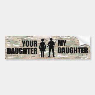 Mi hija está en los militares etiqueta de parachoque