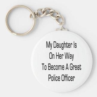 Mi hija está en su manera de hacer una gran policí llavero