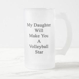 Mi hija le hará una estrella del voleibol taza cristal mate