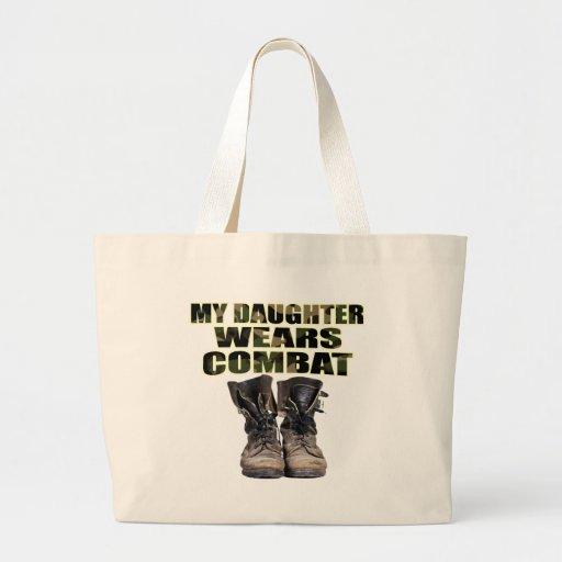 Mi hija lleva botas de combate bolsa de tela grande
