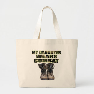 Mi hija lleva botas de combate bolsa tela grande