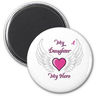 Mi hija mis alas y corazón 2 del héroe imán redondo 5 cm