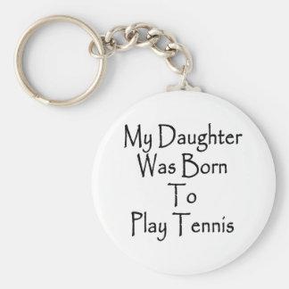 Mi hija nació jugar a tenis llavero redondo tipo pin