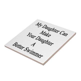 Mi hija puede hacer su hija un mejor Swimme Azulejo Cuadrado Pequeño