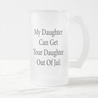 Mi hija puede salir a su hija fuera de cárcel taza cristal mate